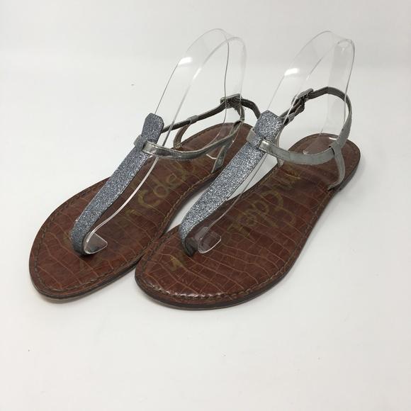 c3dabedc37fb3b Sam Edelman Silver Gigi Glitter T Strap Sandals. M 5a99755fb7f72bbf54127868